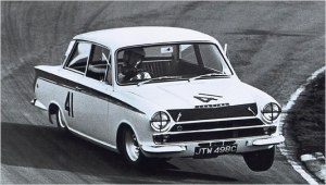 Jimmy three-wheeling a Lotus Cortina, and making it all look so easy.